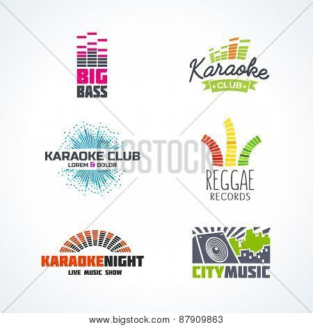Fifth set of dj music reggae bass karaoke equalizer logo vector