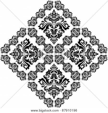 Damask  Pattern. Orient Ornament. Black and White Colors