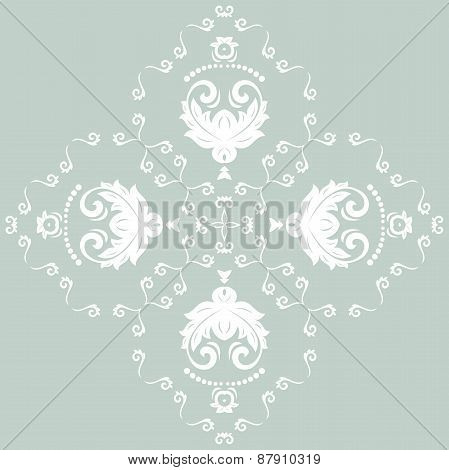 Orient  Pattern. Abstract Ornament with Blue and White Colors
