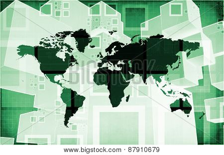 Integrated Technologies on a Global Level Concept background