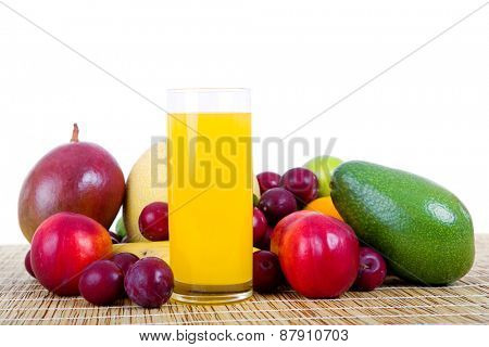 fruits and juice isolated on white background