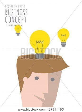 Bulb Of Idea Concept Out Of Head Businessman Flat Vector.