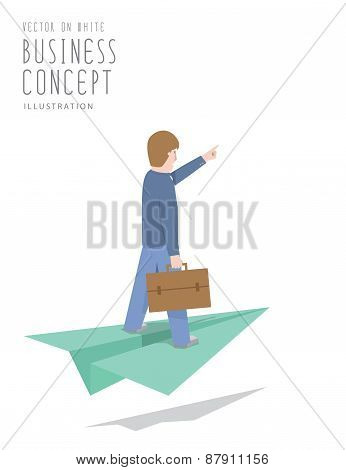 Businessman Ride On Paper Plane Flat Vector.