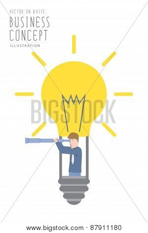 Businessman In A Bulb Balloon With Telescope  Flat Vector.