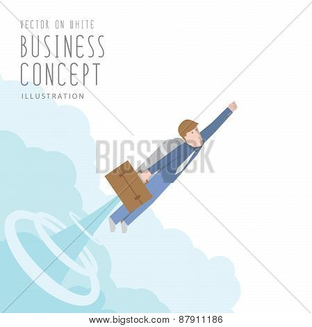 Businessman With A Rocket Flat Vector. Growth And Start Up Concept.