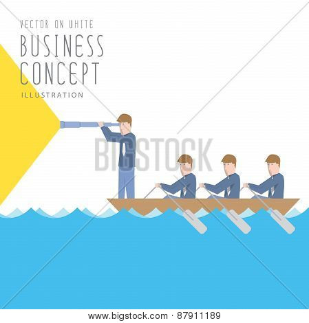 Businessmen In A Boat With Telescope Flat Vector.