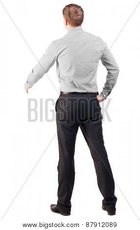 back view of businessman in red shirt out to shake hands. manager extends his hand in greeting. Isolated over white background. cocky office worker greets someone