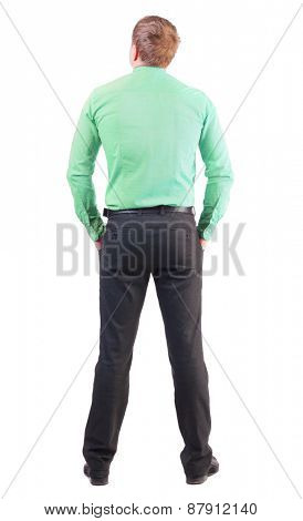 back view of business man  in red shirt looks ahead. Rear view people collection.  backside view of person.  Isolated over white background. office worker with a sports figure looks away
