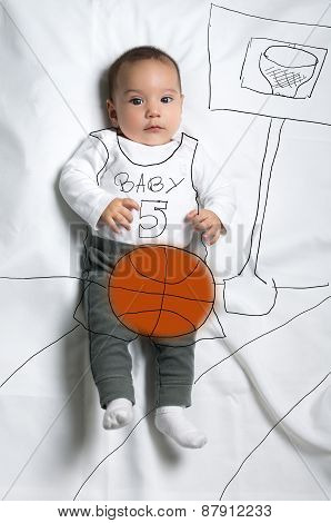 Cute baby boy playing basketball decoration sketch