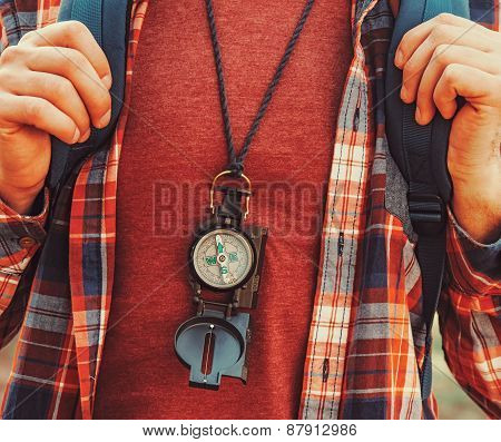 Traveler Man With A Compass