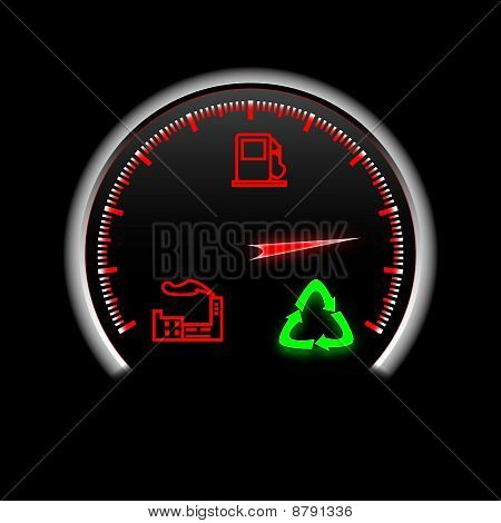 recycling speedometer with three signs