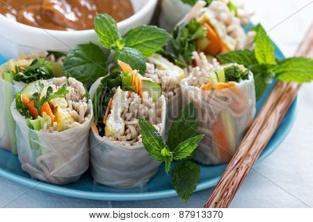Summer rolls with soba noodles and vegetables