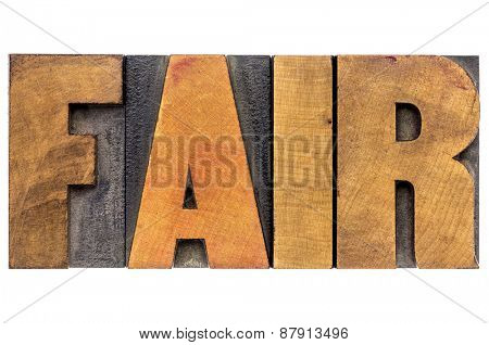 fair word typography - isolated text in letterpress wood type blocks