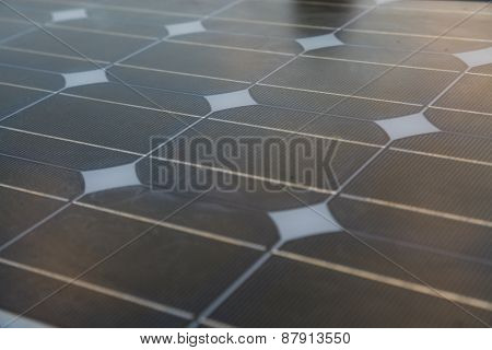 Solar cell generated electrical power by sun light, Closeup of blue photovoltaic solar panels