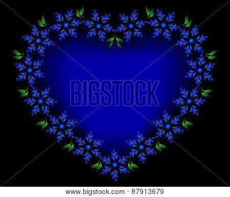 Blue heart of flowers for Valentine's Day. EPS10 vector illustration