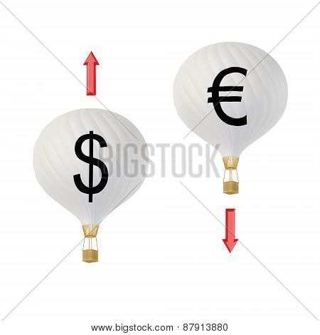 Bw Currency Hot Air Balloons: Dollar & Euro. 3D Render