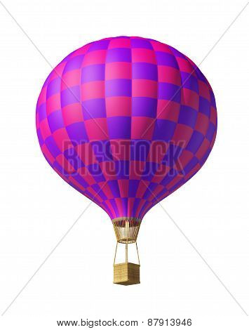 Isolated On White 3D Red-violet Balloon