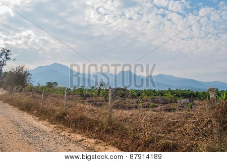 View side gravel road on the mountain in MAEHONGSON Thailand