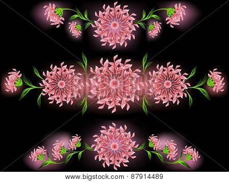 The pattern of pink flowers and leaves on a black base. EPS10 vector illustration
