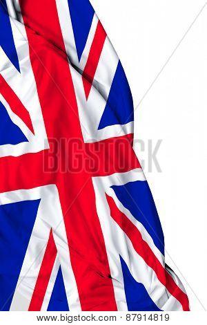 UK waving flag on white background