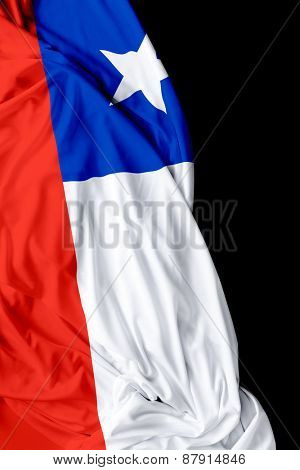 Chilean waving flag on a black background