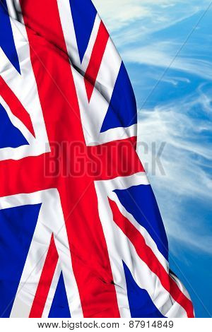 UK waving flag on a beautiful day