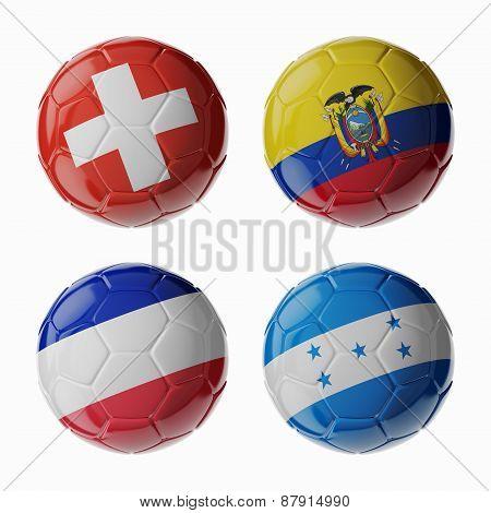 Football Worldcup 2014. Group E. Football/soccer Balls.