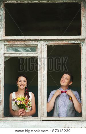 Cheerful Wedding Couple Having Fun Outdoors On Wedding Day