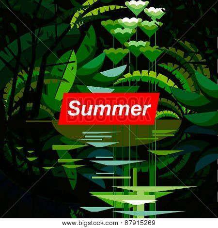 Summer tropical forest, seasonal background