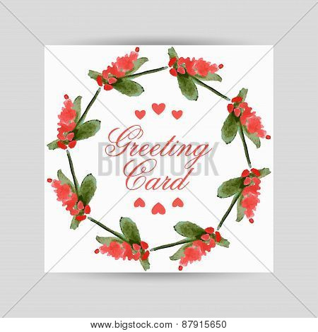 Greeting Card With Flowers In A Circl
