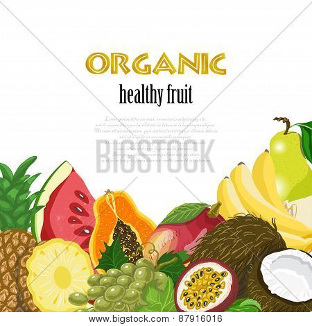 Organic Healthy Fruit Background. Healthy Diet Illustration