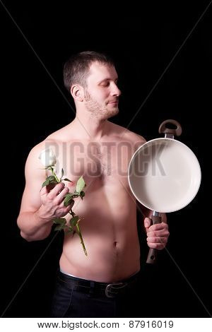 Man With Frying Pan And A Flower