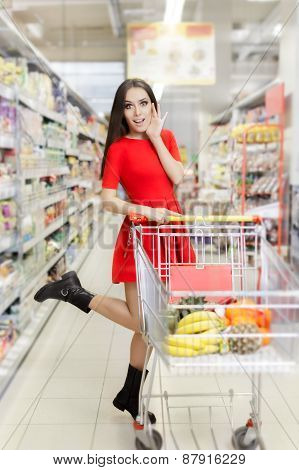 Surprised Woman Sopping  at The Supermarket