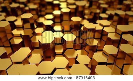 Abstract Tech Background With Many Golden Hexagons