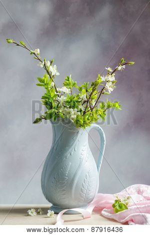 Spring apple blossom in antique jug
