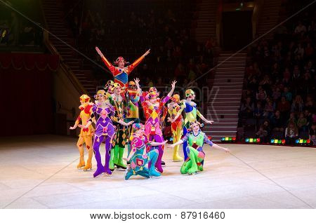 Tour Of The Moscow Circus On Ice. Acrobats With Skipping Ropes