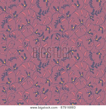 seamless line floral pattern. textile vector background