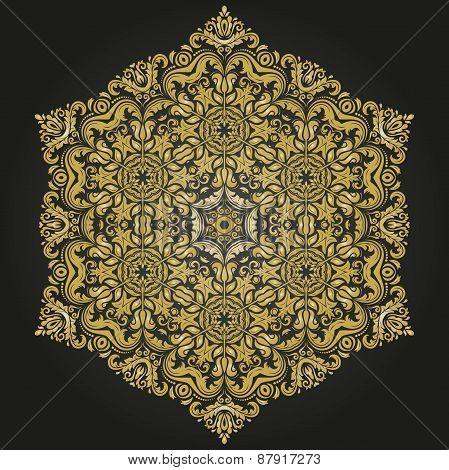 Damask  Pattern. Orient Golden Ornament