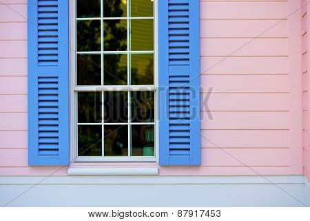 Opened Blue Window Blind