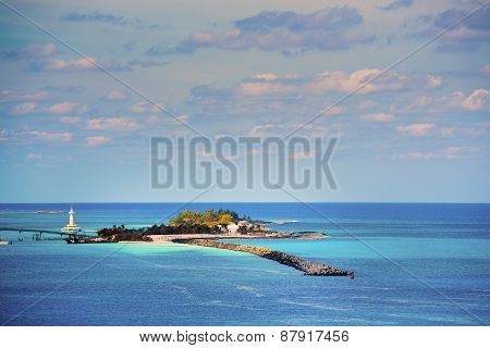 Astonishing Islet With A Lighthouse