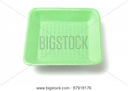 Green Disposable Styrofoam Food Tray on white Background