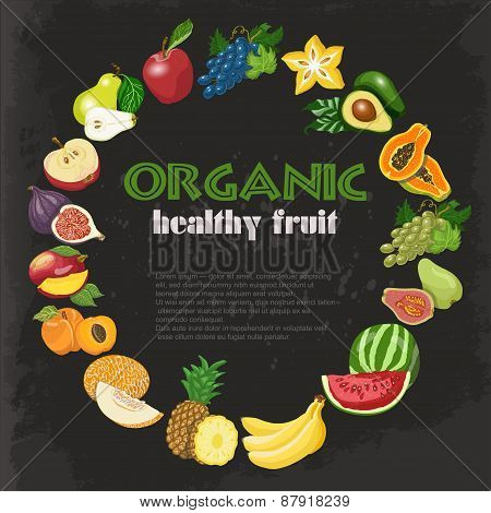 Vector Background With Diet And Organic Fruits On Dark Background