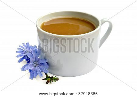 Chicory drink in white cup with flower