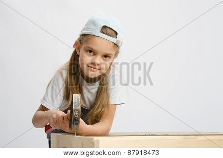 Child Labor In Classroom Hammer Nails With A Hammer