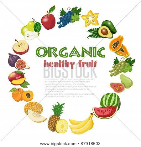 Vector Background With Diet And Organic Fruits