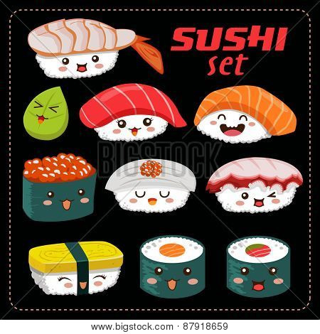 Sushi vector set. Sushi cartoon character illustration.