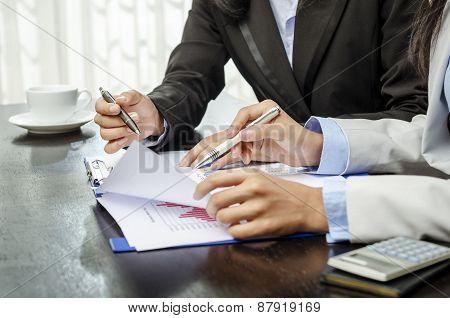 Closeup businesswomen hands