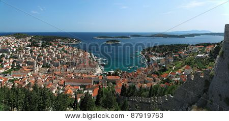View Of The City Of Hvar And Harbor From A Fortification.