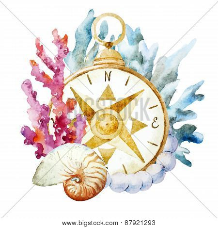 Compass with corals