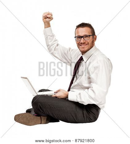 happy man with notebook isolated on white